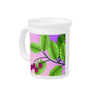 Raspberries on a branch pitcher