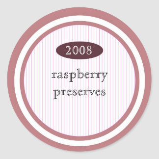 Raspberry preserves food label round sticker