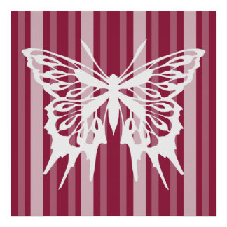 Raspberry Victorian Lady Stripe with Butterfly Poster