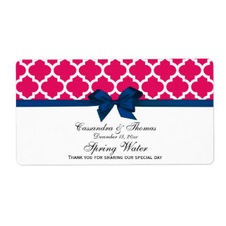 Raspberry White Moroccan Navy Bow Water Label