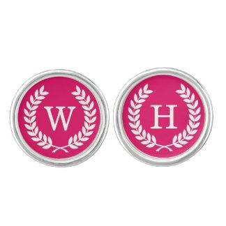 Raspberry Wht Wheat Laurel Wreath Initial Monogram Cuff Links