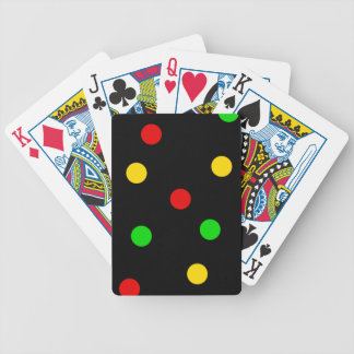 Rasta Polka Dots on Black Bicycle Playing Cards
