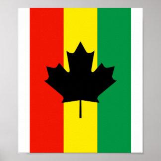 Rasta Reggae Maple Leaf Flag Poster