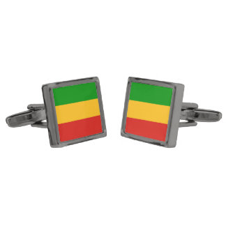 RASTAFARI FLAG COLORS + your ideas Gunmetal Finish Cuff Links