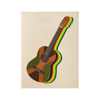 Rastafarian Reggae Guitar Jamaican Flag Wood Poster