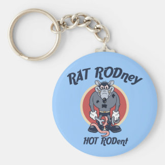 Rat Rodney Basic Round Button Key Ring