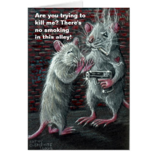Rat thug alley gun cigarette humor funny card