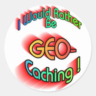 Rather Be Geocaching Classic Round Sticker