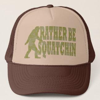 Rather be squatchin, camo trucker hat