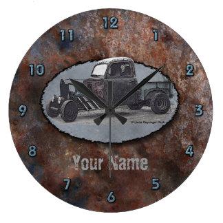 Ratrod Truck Color Rusty Metal Large Clock
