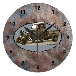Ratrod Truck Rusty Metal Black Numbers Large Clock
