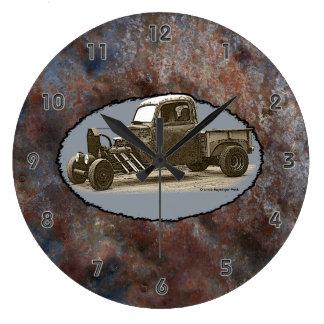 Ratrod Truck Rusty Metal Gray Groove Numbers Large Clock