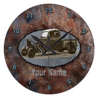 Ratrod Truck Rusty Metal Large Clock