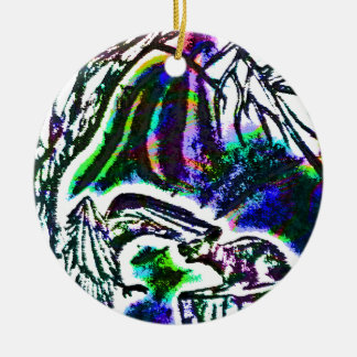 Raven feeding a Rat On a Cold Winter Day Christmas Ornament