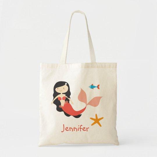 Raven Haired Cartoon Mermaid Treat Bag