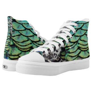 Ravishing Peafowl Feathers High Tops
