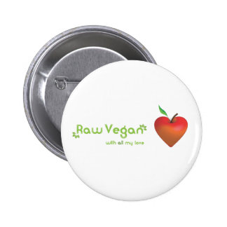 Raw vegan with all my love (red apple heart) 6 cm round badge