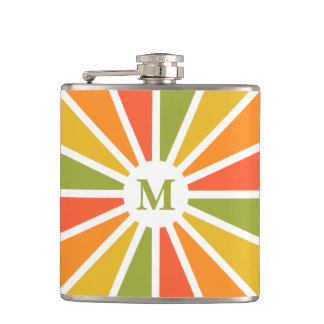 Rays Pattern custom monogram flask