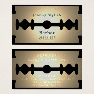 Razor blade barber shop gold shine business card
