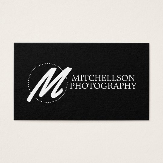 RDF Large Script Monogram Black Business Card