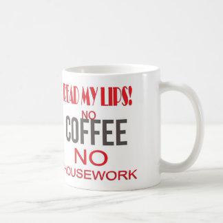 READ MY LIPS - NO COFFEE NO HOUSEWORK! BASIC WHITE MUG