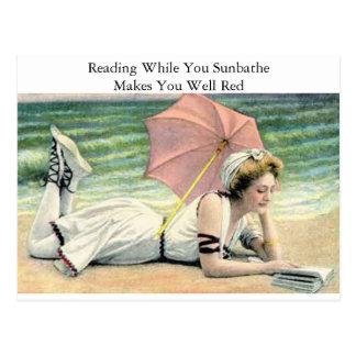 Reading While You Sunbathe Humour Postcard