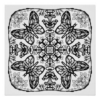 ready to color butterfly mandala poster - Posters To Color