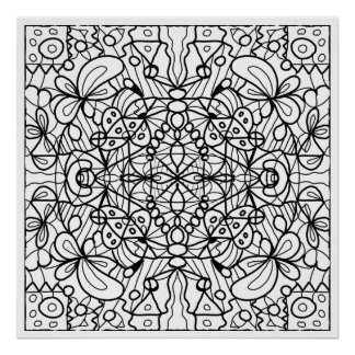 ready to color leafy mandala poster - Posters To Color