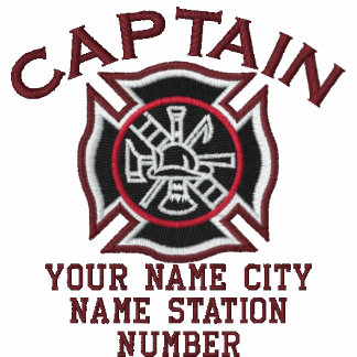 Ready to Personalize Captain Firefighter Badge Embroidered Shirts