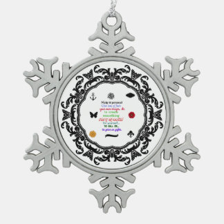Ready to personalize snowflake ornament