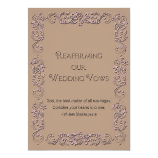 Reaffirmation of Vows - Beige - Rose Faux Embossed 13 Cm X 18 Cm Invitation Card