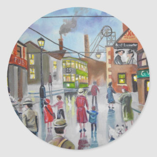 Real Ales Pub oil painting Gordon Bruce Classic Round Sticker