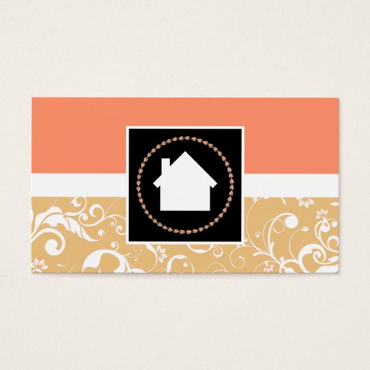 Real Estate Agent professional damask home Business Card