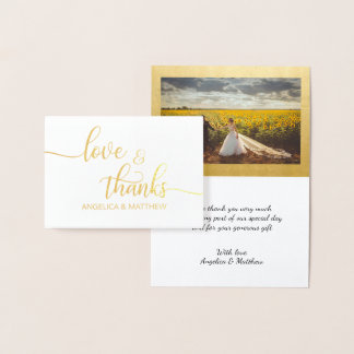 REAL Gold Foil LOVE & THANKS Wedding | with Photo Foil Card