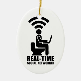Real-time social networker christmas ornament