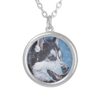 realistic Siberian Husky Dog Fine Art Painting Silver Plated Necklace