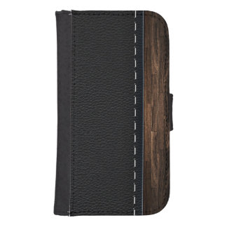Realistic Wood and Stitched Leather Texture Samsung S4 Wallet Case