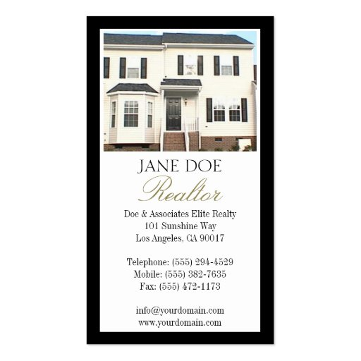 Realtor B/W Photo Gold Script Border Pack Of Standard Business Cards