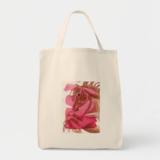 Rearing Chestnut Horse On Hot Pink Watercolor Wash Tote Bag