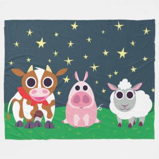 Reba, Leary, and Lulu at Night Fleece Blanket