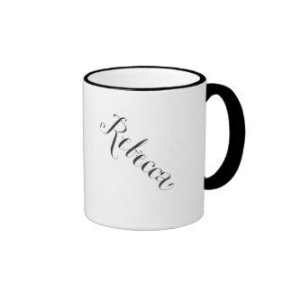 Rebecca mug in black and white