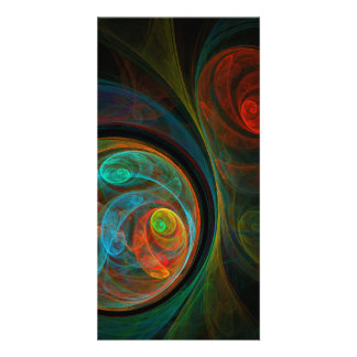 Rebirth Blue Abstract Art Photo Card