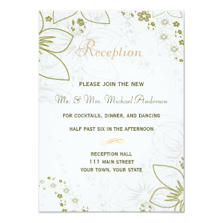 Reception Card for Green and Gold Simple Wedding