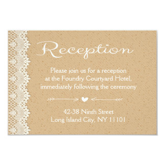 Reception Country Lace Brown And White Wedding Card