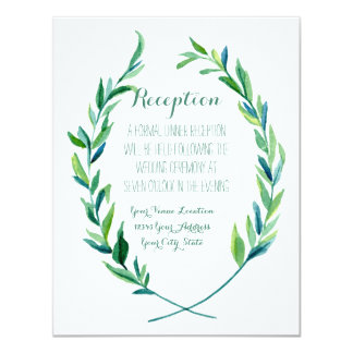 Reception Laurel Wreath Modern Simple Olive Leaf Card