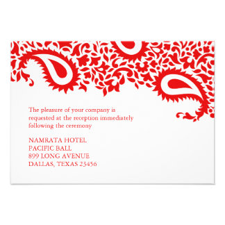 Reception Paisley Indian Style Wedding Flat Card Personalised Invite