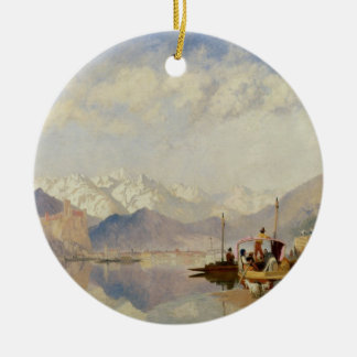 Recollections of the Lago Maggiore, Market Day at Round Ceramic Decoration