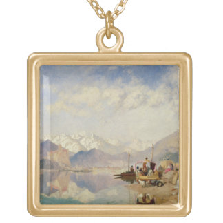 Recollections of the Lago Maggiore, Market Day at Square Pendant Necklace