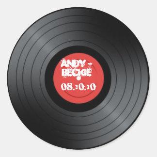 Record, Rock n Roll wedding. Classic Round Sticker