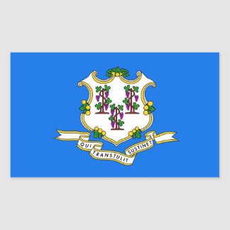 Rectangle sticker with Flag of Connecticut, U.S.A.